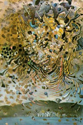 dali head-bombarded-with-grains-of-wheat-village-of-cadaques