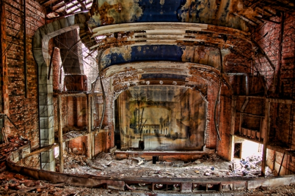 The abandoned Palace Theater in Gary, Indiana closed in the 1970s and has stood vacant ever since.